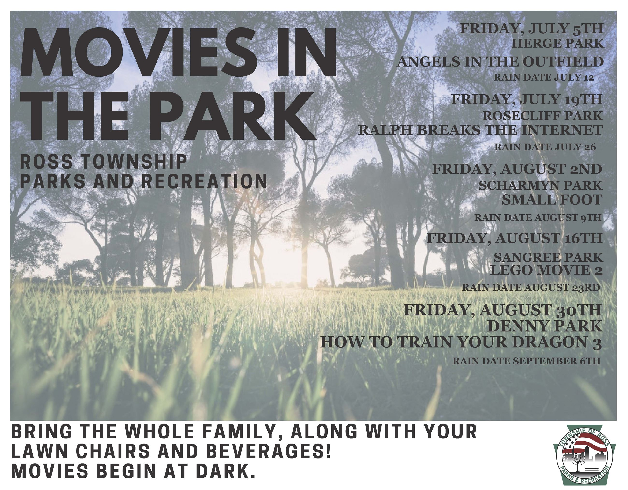 Movies in the Park Flyer 2019 Opens in new window
